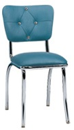 921-DT Chair. Curved Diamond Tuft Back, Chrome Buttons