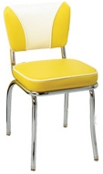 921-ELSH Chair, Baron Yellow, Baron White Insert, White Piping
